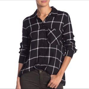 Socialite Plaid Long Sleeve Button Front Shirt